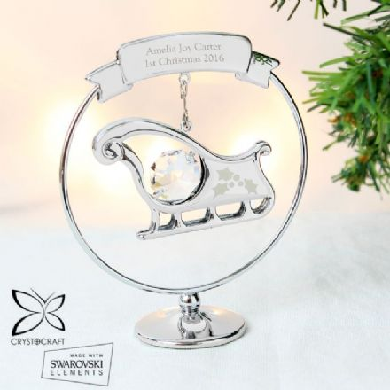Personalised Crystocraft Christmas Sleigh Ornament